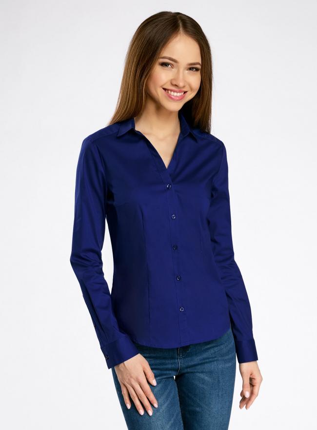 Рубашка приталенная с V-образным вырезом oodji для женщины (синий), 11402092B/42083/7500N