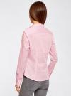 Рубашка приталенная с V-образным вырезом oodji для женщины (розовый), 11402092B/42083/4000N - вид 3