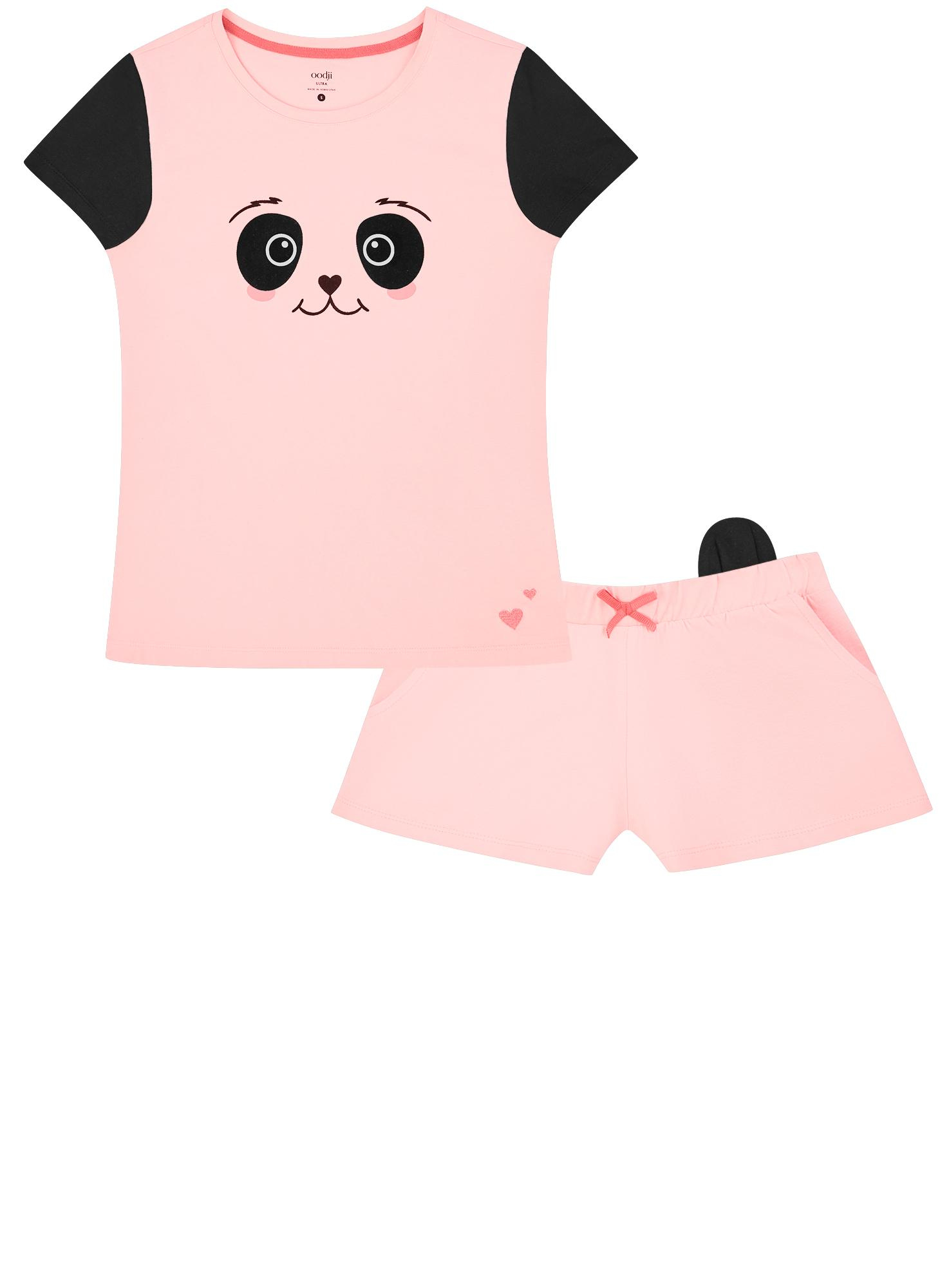 Пижама хлопковая с принтом oodji для женщины (розовый), 56002228/46158/4029P