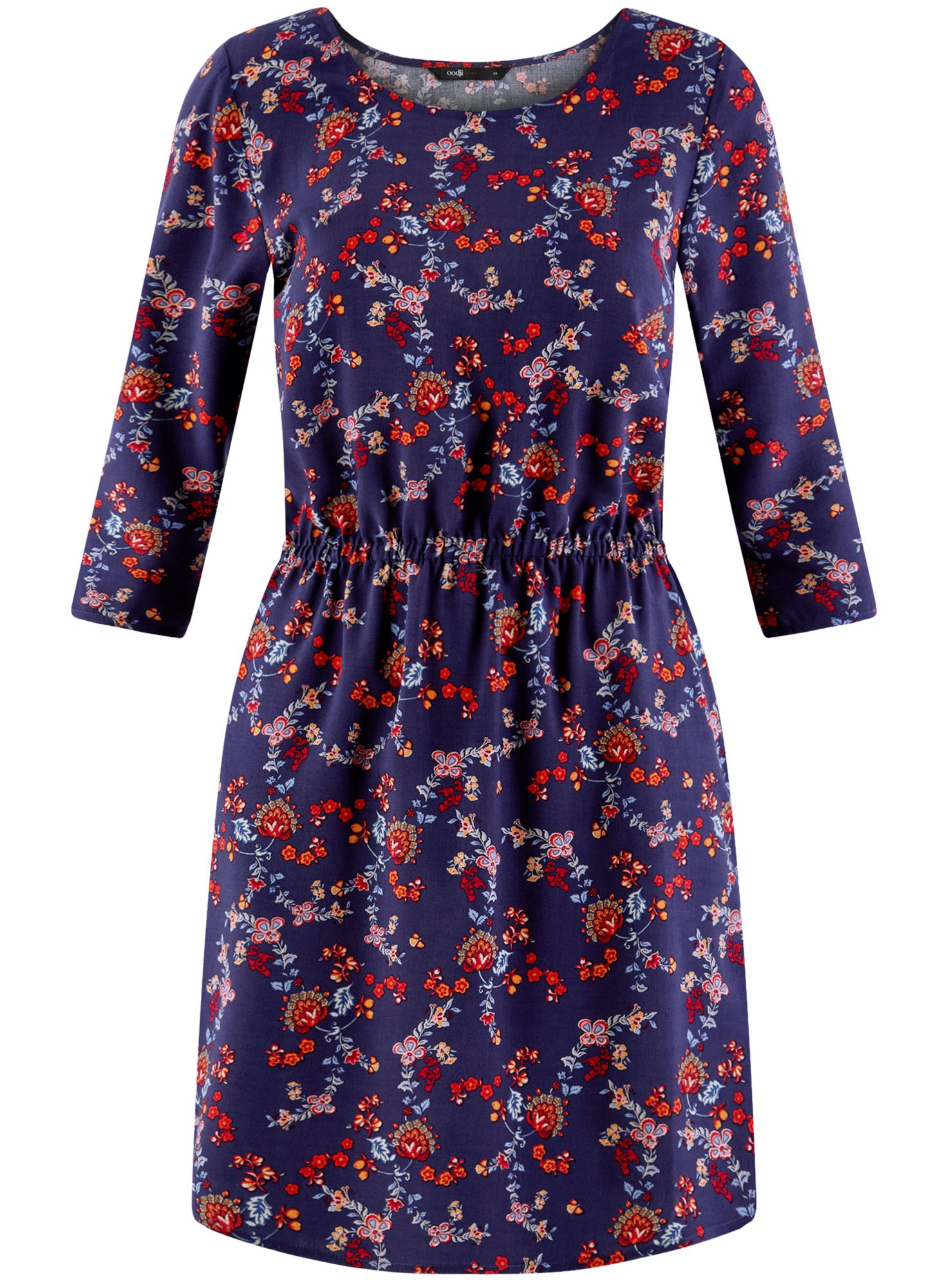 Платье вискозное с рукавом 3/4 oodji для женщины (синий), 11901153-1B/42540/7945E
