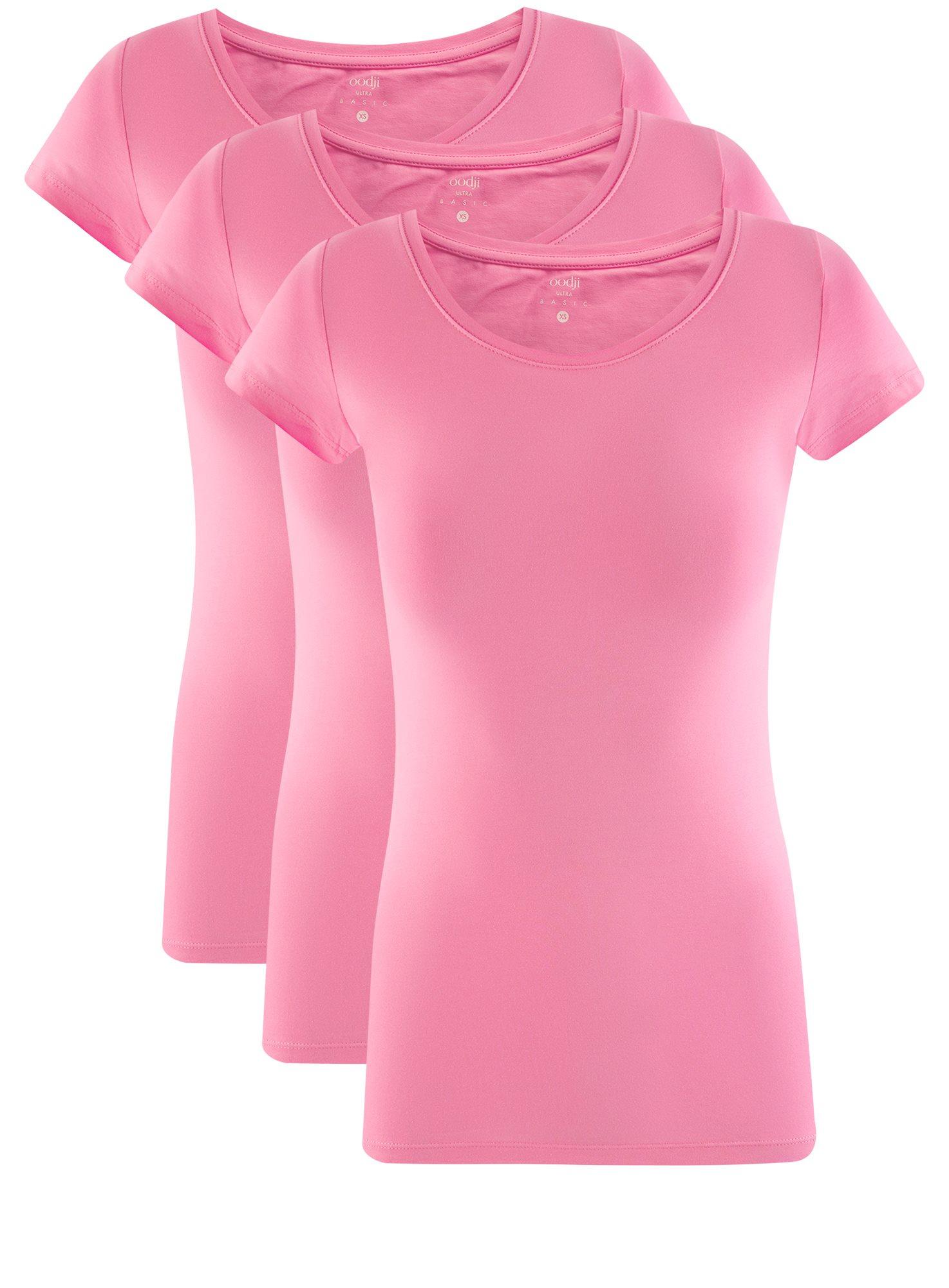 Футболка базовая приталенная (комплект из 3 штук) oodji для женщины (розовый), 14701005T3/46147/4100N