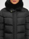 Куртка удлиненная с искусственным мехом на воротнике oodji для женщины (черный), 10203059-1/32754/2901N - вид 4