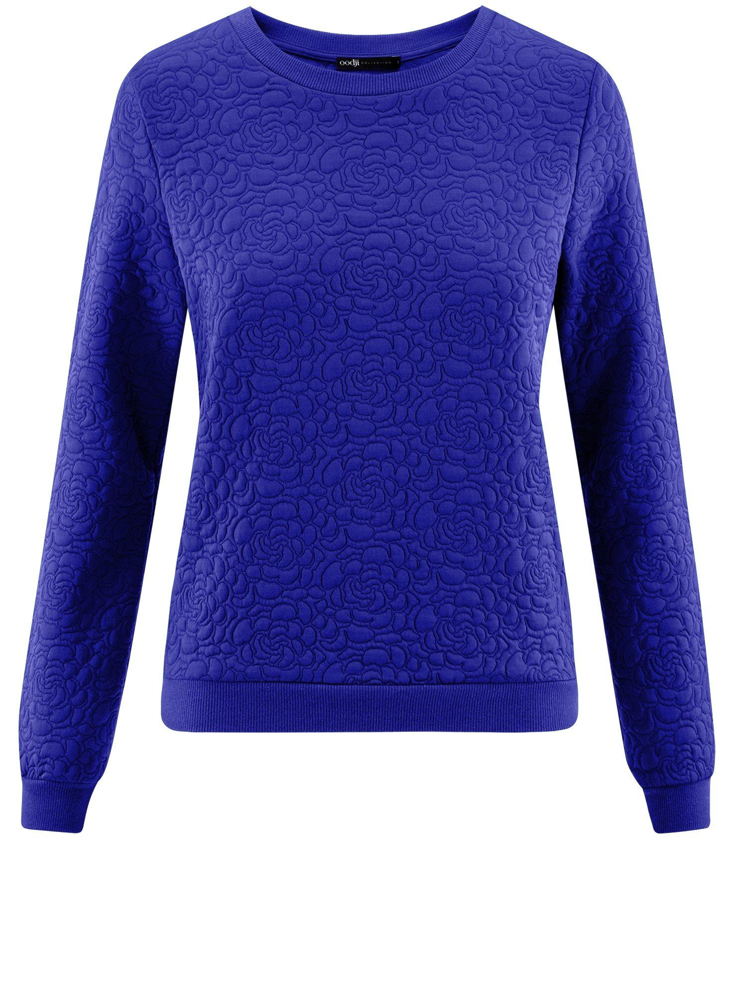 Свитшот базовый из фактурной ткани oodji для женщины (синий), 24801010-4/42316/7500N
