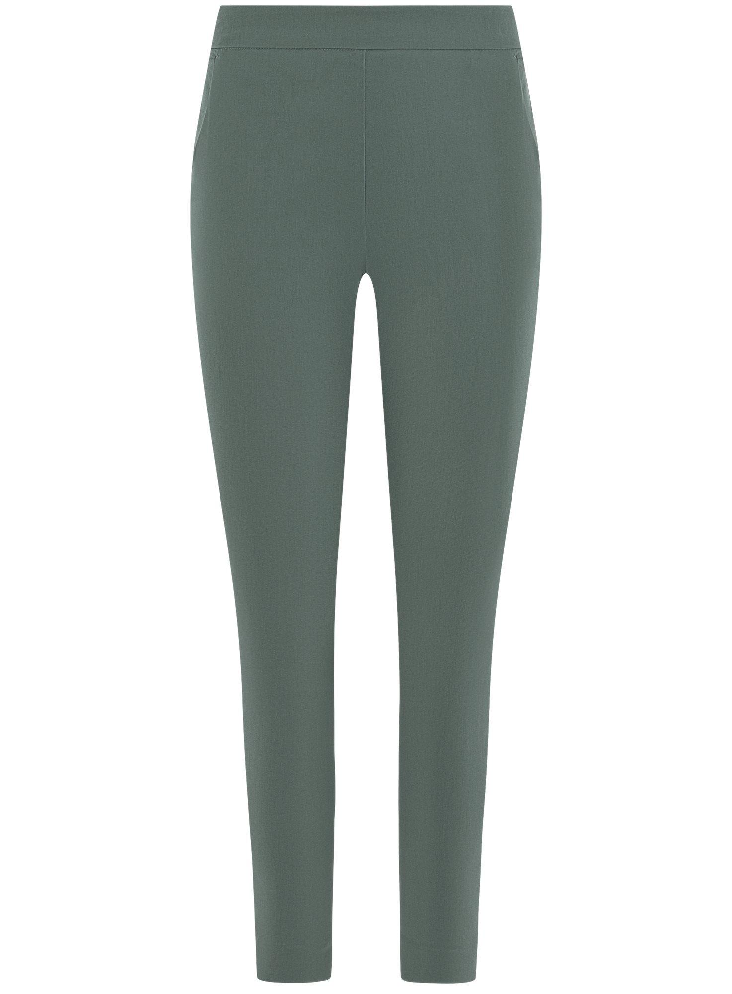 Брюки облегающие с молнией сбоку oodji для женщины (зеленый), 11707120/14007/6900N