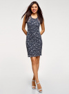 Платье трикотажное без рукавов oodji для женщины (синий), 14005130/42867/7910F - вид 2
