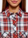 Рубашка хлопковая с нагрудными карманами oodji для женщины (красный), 11411052-1B/42850/4512C - вид 4