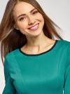 Платье трикотажное со складками на юбке oodji для женщины (зеленый), 14001148-1/33735/6D00N - вид 4