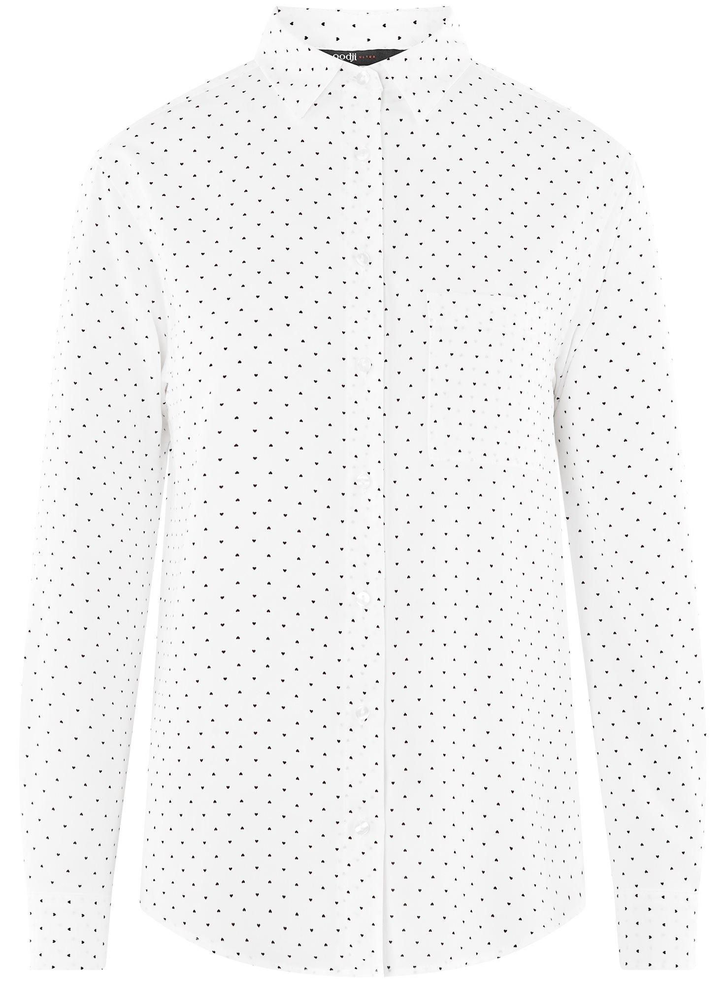 Блузка прямого силуэта с нагрудным карманом oodji для женщины (белый), 11411134B/46123/1229Q