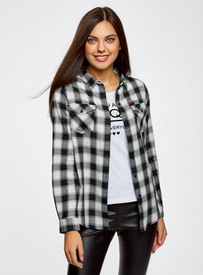Рубашка хлопковая с нагрудными карманами oodji для женщины (серый), 13L00001/43223/1229C