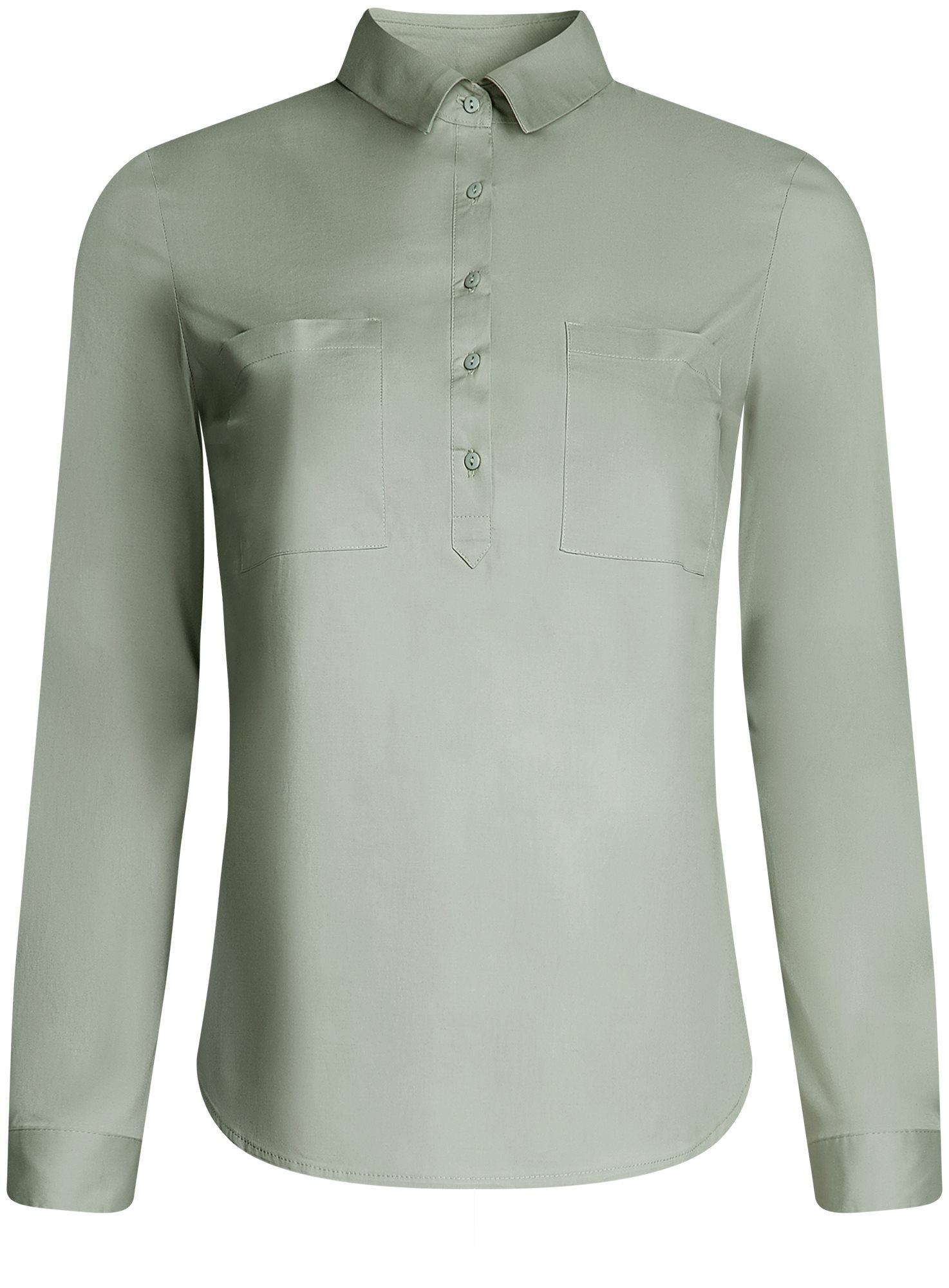 Рубашка базовая с нагрудными карманами oodji для женщины (зеленый), 11403222B/42468/6000N