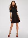 Платье с декоративной отделкой горловины и вставкой из кружева oodji для женщины (черный), 11913033/42250/2900N - вид 2