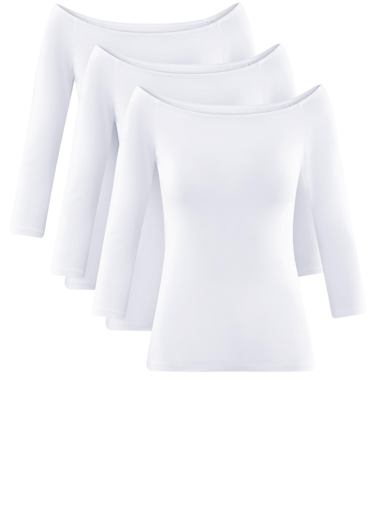 Футболка с открытыми плечами (комплект из 3 штук) oodji для женщины (белый), 14207007T3/46867/1000N