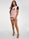 Пижама хлопковая с принтом oodji для женщины (розовый), 56002228/46158/4029P - вид 6