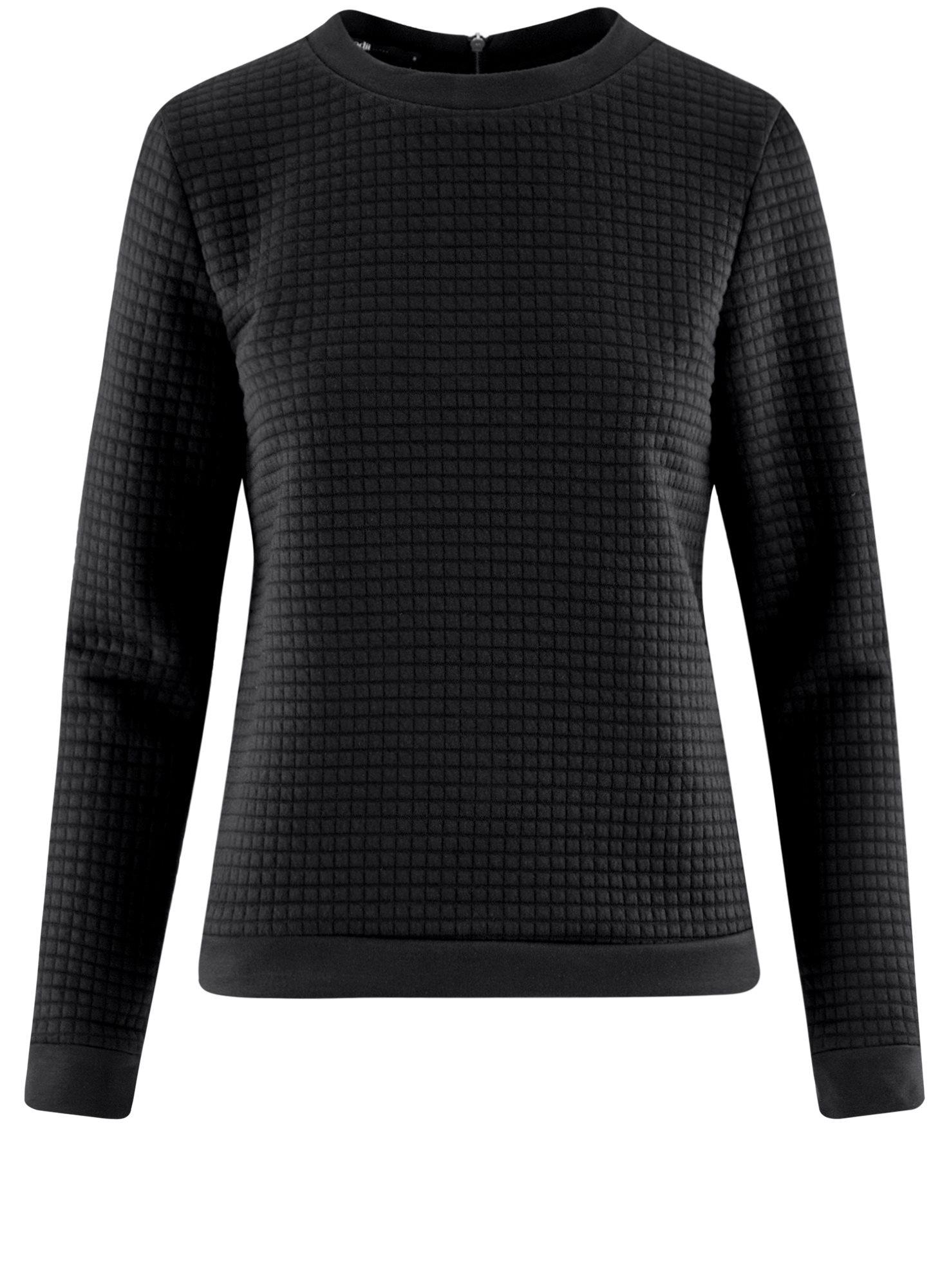 Свитшот из фактурной ткани с молнией на спине oodji для женщины (черный), 14801046/45949/2900N