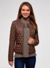 Куртка стеганая с круглым вырезом oodji для женщины (коричневый), 18304005/47048/3900N - вид 2