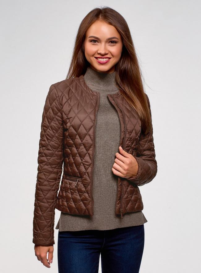 Куртка стеганая с круглым вырезом oodji для женщины (коричневый), 18304005/47048/3900N