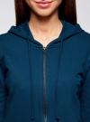 Толстовка с капюшоном и карманами oodji для женщины (синий), 16901079-2B/46934/7900N - вид 4