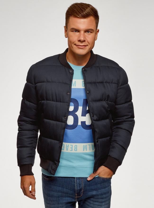 Куртка стеганая на заклепках oodji для мужчины (синий), 1L511077M/48733N/7900N