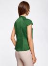 Рубашка с коротким рукавом из хлопка oodji для женщины (зеленый), 11403196-3/26357/6E00N - вид 3