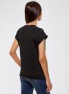 Футболка хлопковая с принтом oodji для женщины (черный), 14707001-55/46154/2910P - вид 3