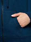 Толстовка с капюшоном и карманами oodji для женщины (синий), 16901079-2B/46934/7900N - вид 5