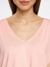 Футболка из струящейся ткани с V-образным вырезом oodji для женщины (розовый), 14708011/16300/5400N - вид 4