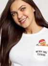 Футболка хлопковая с карманом на груди oodji для женщины (белый), 14701078-6/48369/1019P - вид 4