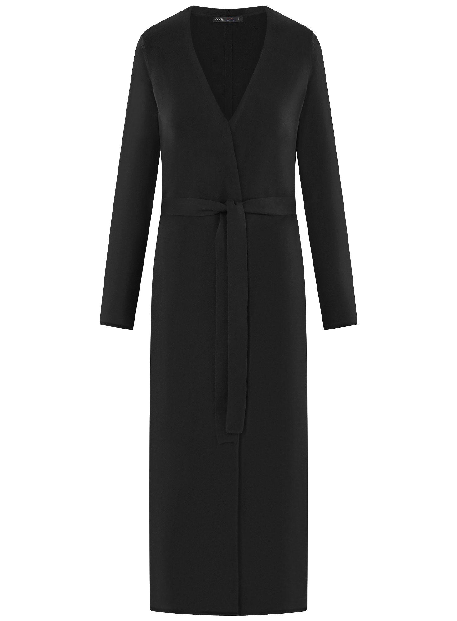 Кардиган удлиненный с поясом oodji для женщины (черный), 63212602/18239/2900N