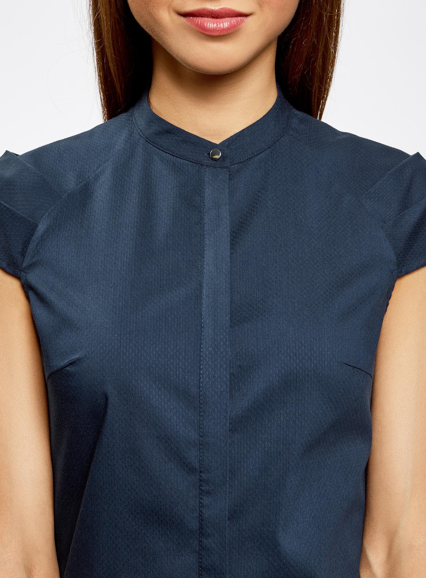 Рубашка с коротким рукавом из хлопка oodji для женщины (синий), 11403196-1/18193/7900N
