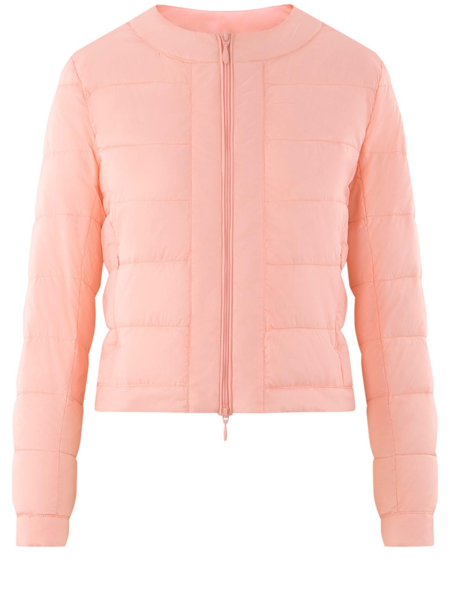 Куртка стеганая с круглым вырезом oodji для женщины (розовый), 10203050-2B/47020/4001N