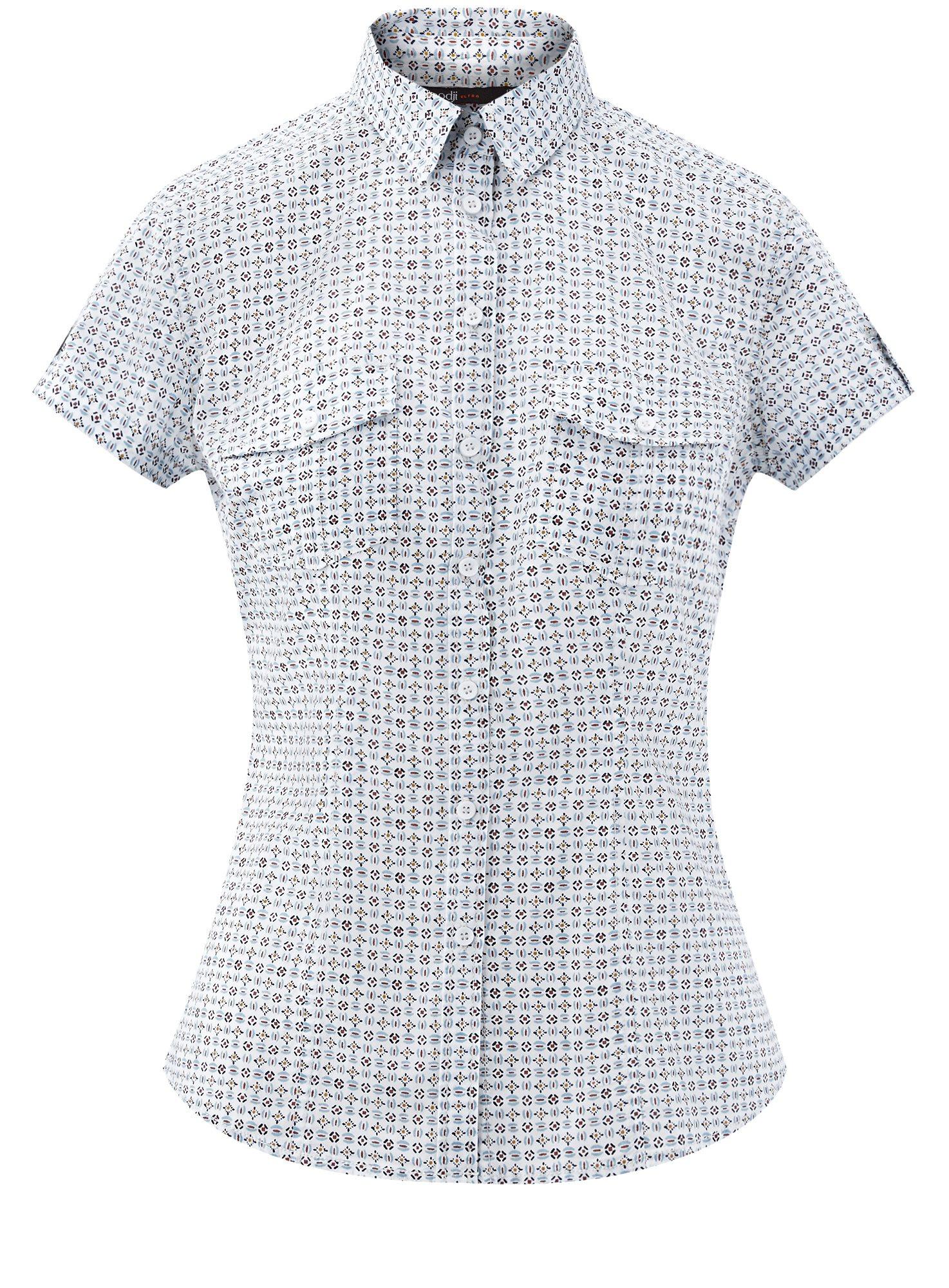 Рубашка хлопковая с нагрудными карманами oodji для женщины (белый), 13L02001B/45510/1279G