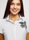 Рубашка хлопковая с вышивкой oodji для женщины (белый), 13K01004-6/14885/1019P - вид 4