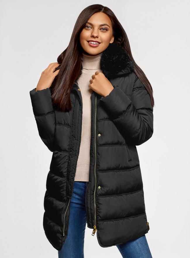 Куртка удлиненная с искусственным мехом на воротнике oodji для женщины (черный), 10203059-1/32754/2901N