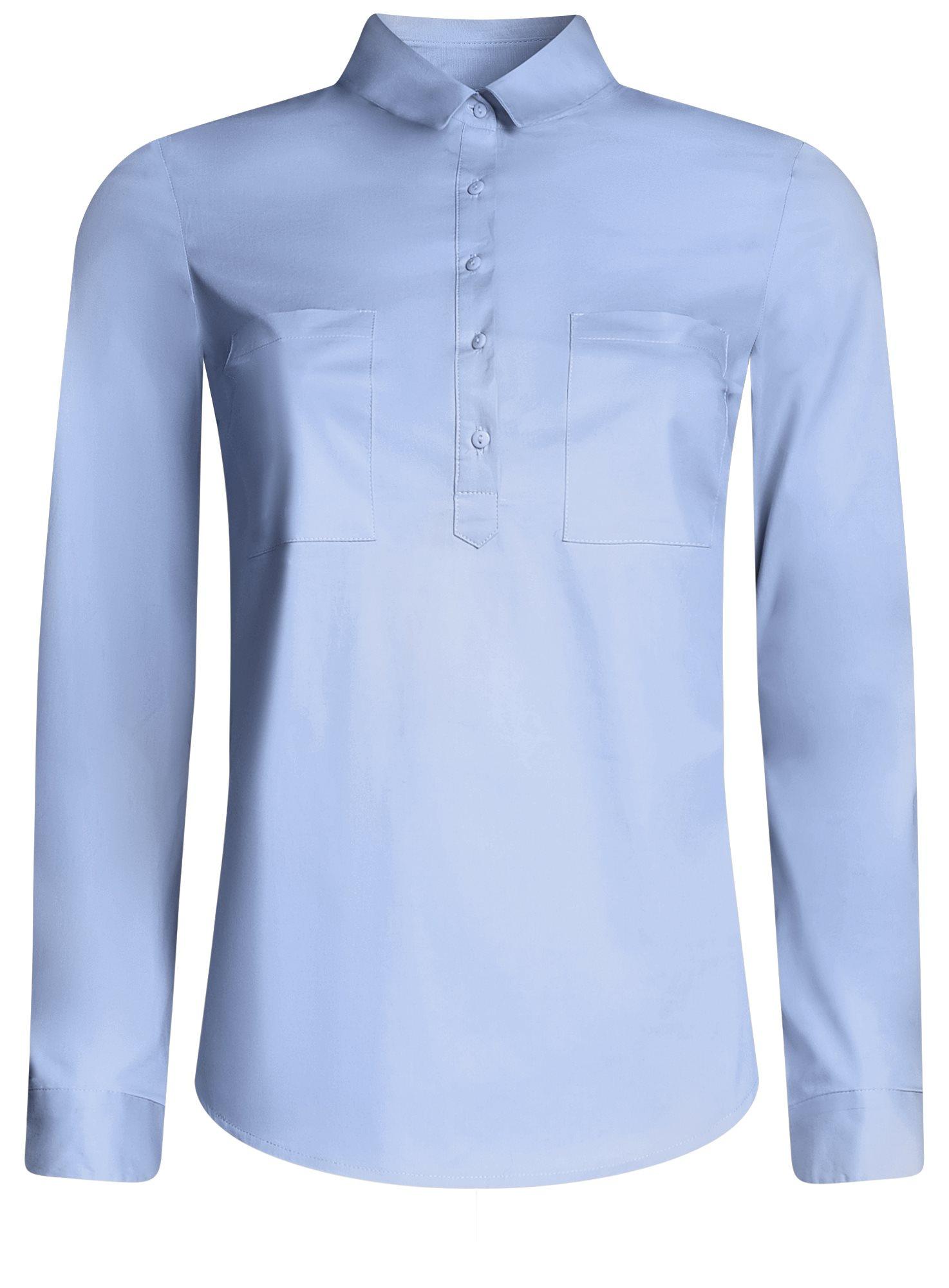 Рубашка базовая с нагрудными карманами oodji для женщины (синий), 11403222B/42468/7000N