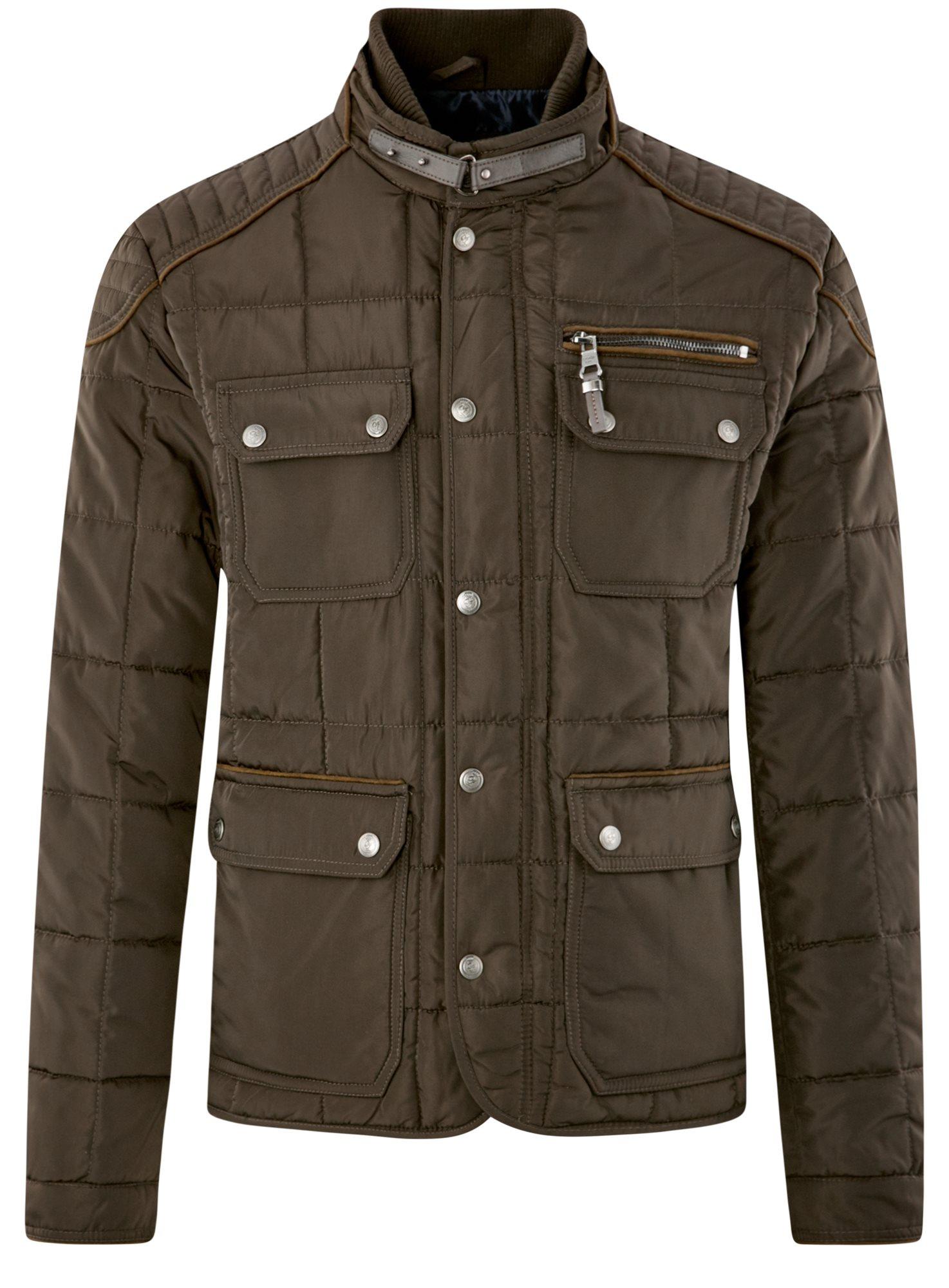 Куртка стеганая с накладными карманами oodji для мужчины (коричневый), 1L111044M/39877N/3900N