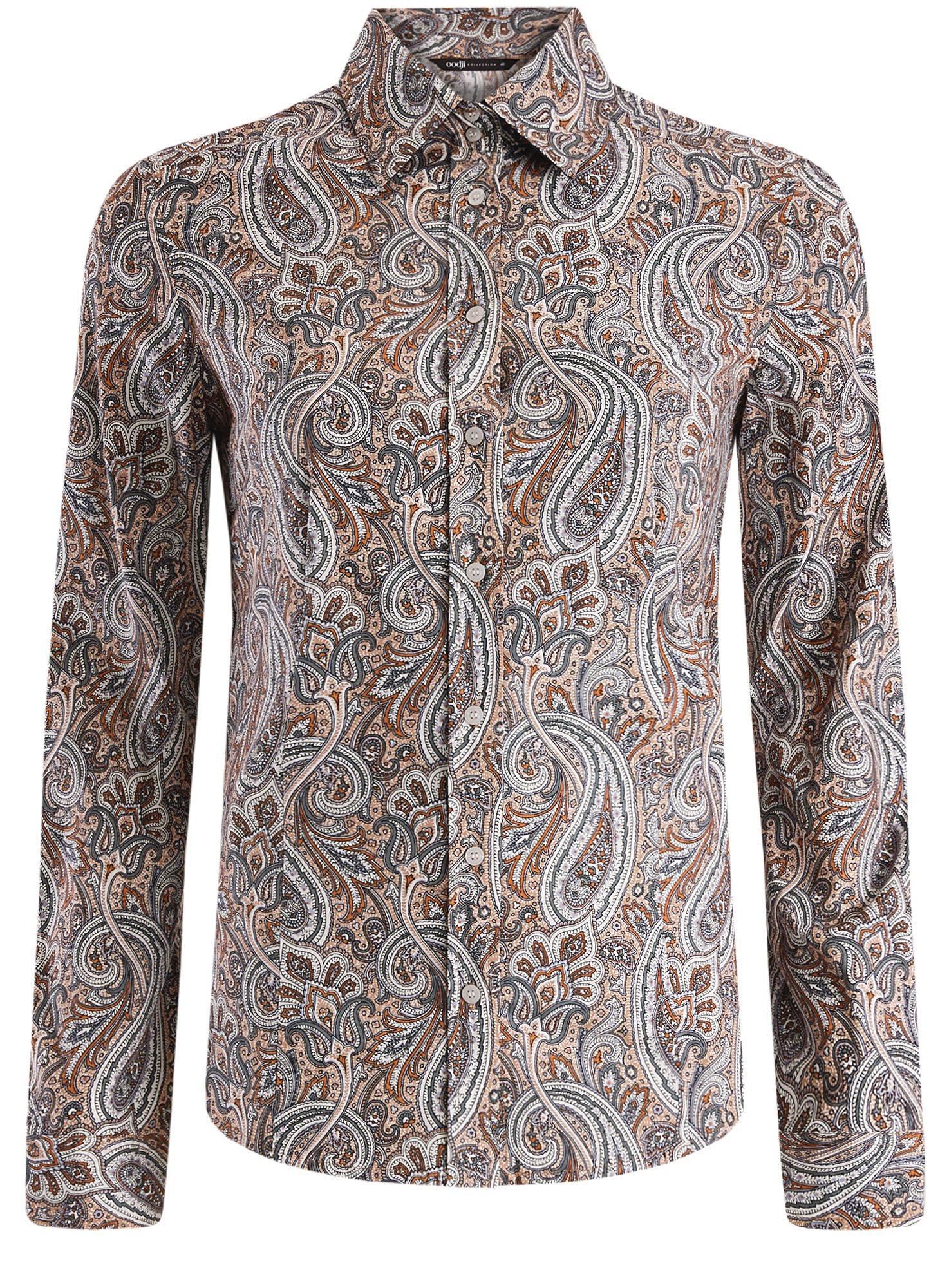 Рубашка приталенная принтованная oodji для женщины (бежевый), 21402212/14885/3355E