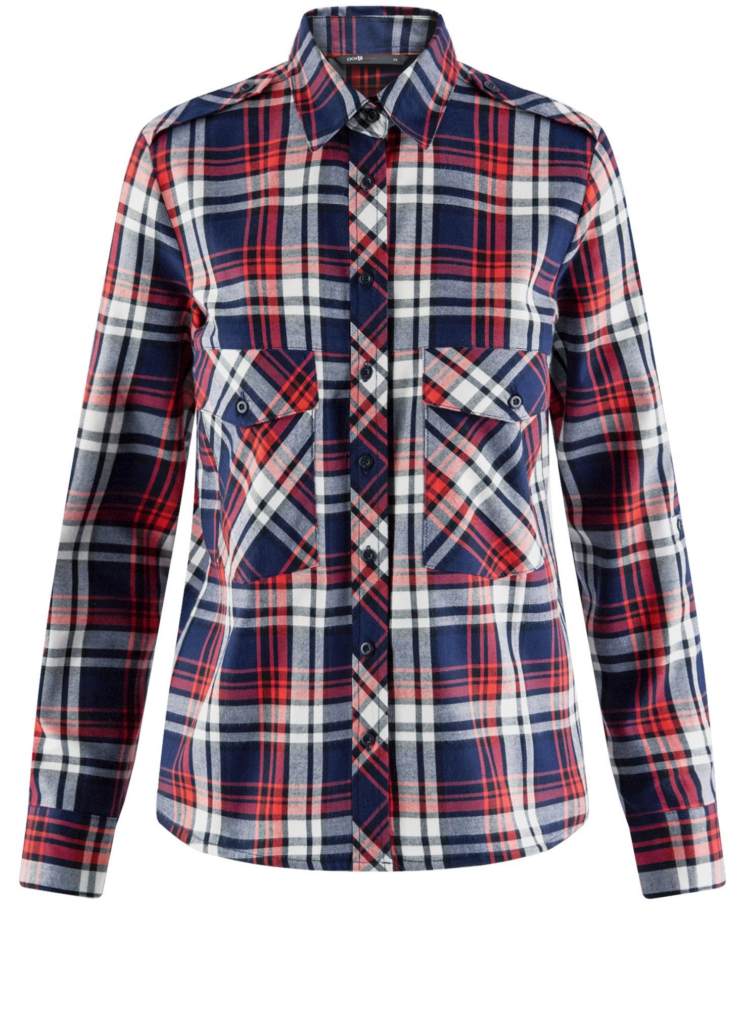 Рубашка хлопковая с нагрудными карманами oodji для женщины (синий), 11411052-1B/42850/7945C