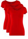 Футболка базовая приталенная (комплект из 3 штук) oodji для женщины (красный), 14701005T3/46147/4500N