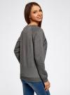 Свитшот прямого силуэта с принтом oodji для женщины (серый), 14807017-2/46885/2529Z - вид 3