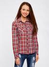 Рубашка в клетку хлопковая oodji для женщины (красный), 11405122-1/33564/4579C - вид 2