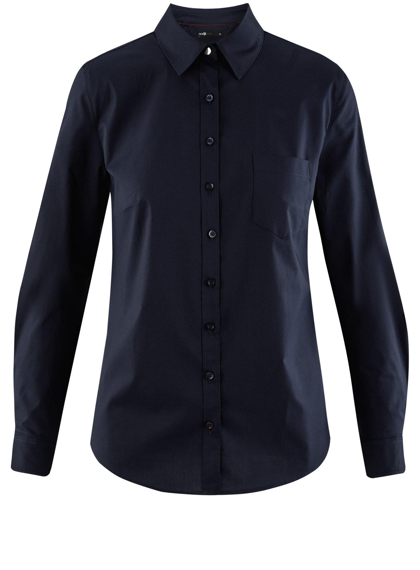 Рубашка базовая с нагрудным карманом oodji для женщины (синий), 11403205-9/26357/7949B
