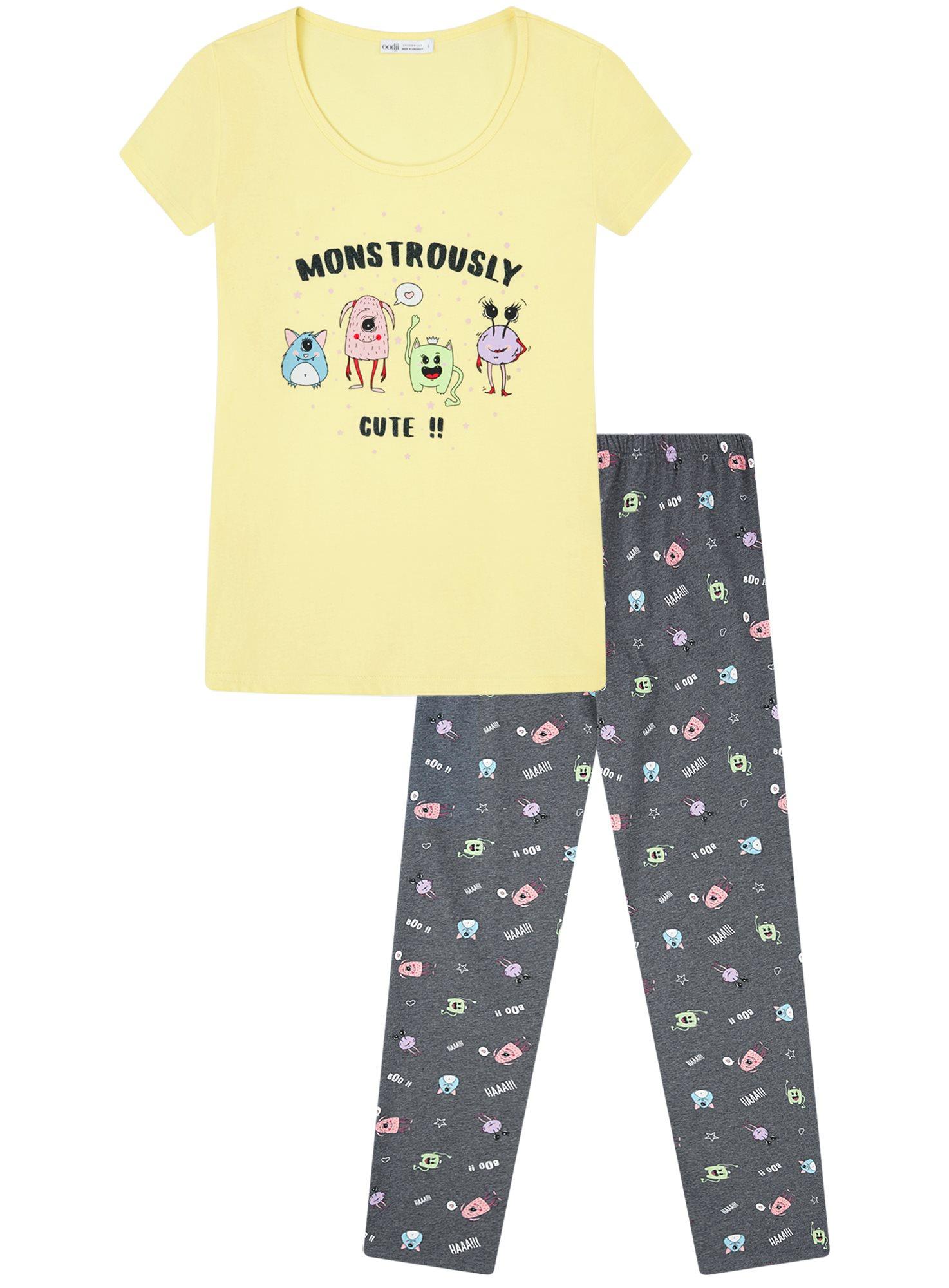 Пижама хлопковая с брюками oodji для женщины (желтый), 56002074-1/46158/5025P