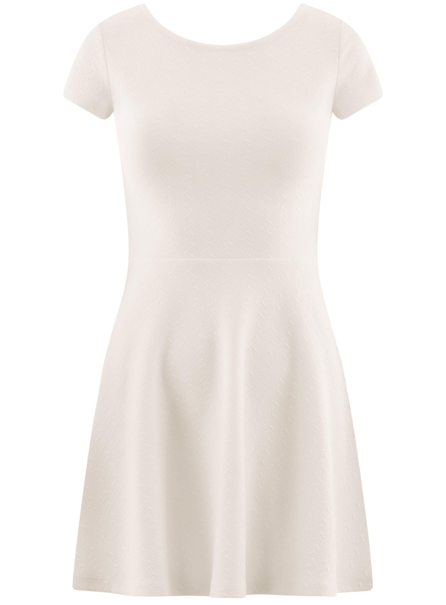 Платье приталенное с V-образным вырезом на спине oodji для женщины (белый), 14011034B/42588/1200N