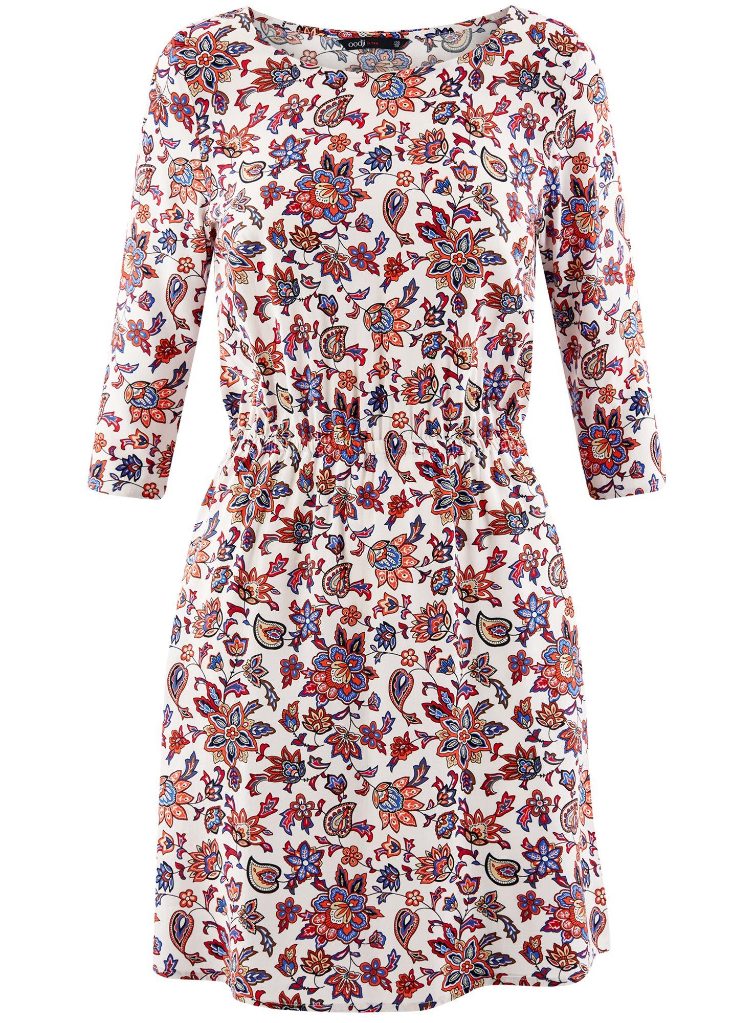 Платье вискозное с рукавом 3/4 oodji для женщины (разноцветный), 11901153-1B/42540/4045F