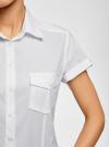 Рубашка базовая с коротким рукавом oodji для женщины (белый), 11402084-5B/45510/1000N - вид 4