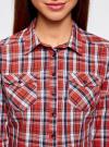Рубашка в клетку хлопковая oodji для женщины (красный), 11405122-1/33564/4579C - вид 4