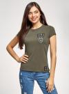 Футболка хлопковая с нашивкой oodji для женщины (зеленый), 14701078-36/49887/6823P - вид 2