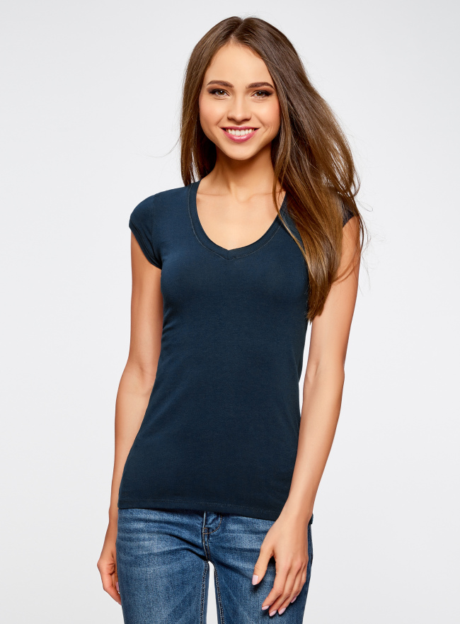 Комплект из двух базовых футболок oodji для женщины (синий), 14711002T2/46157/7900N