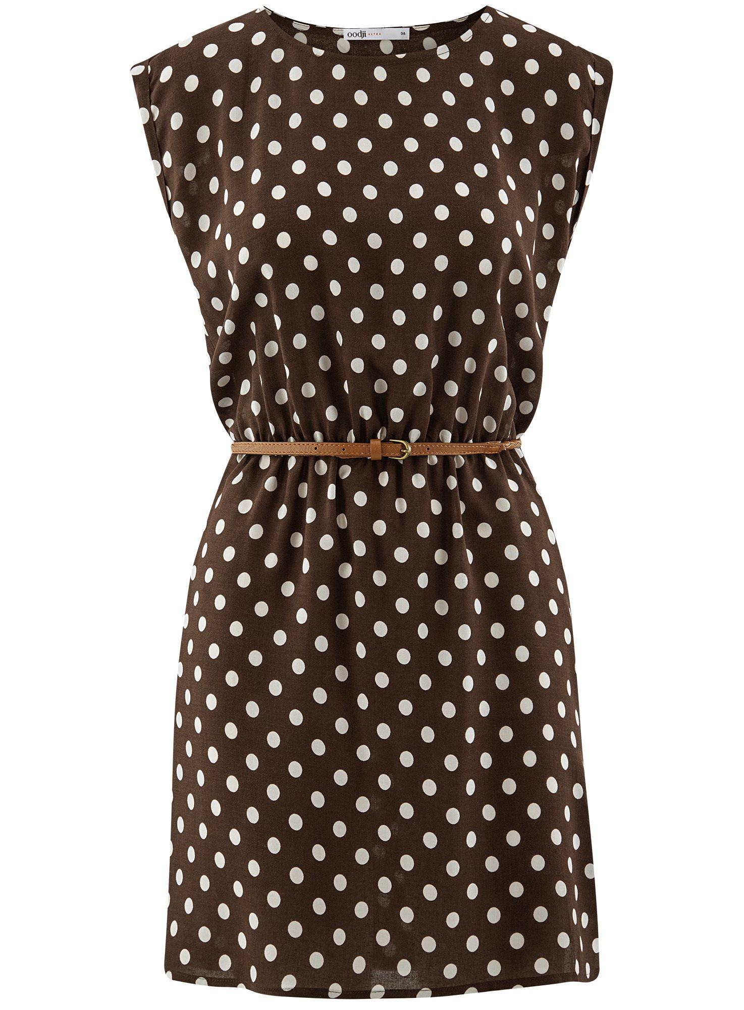 Платье принтованное из вискозы oodji для женщины (коричневый), 11910073-2/45470/3912D