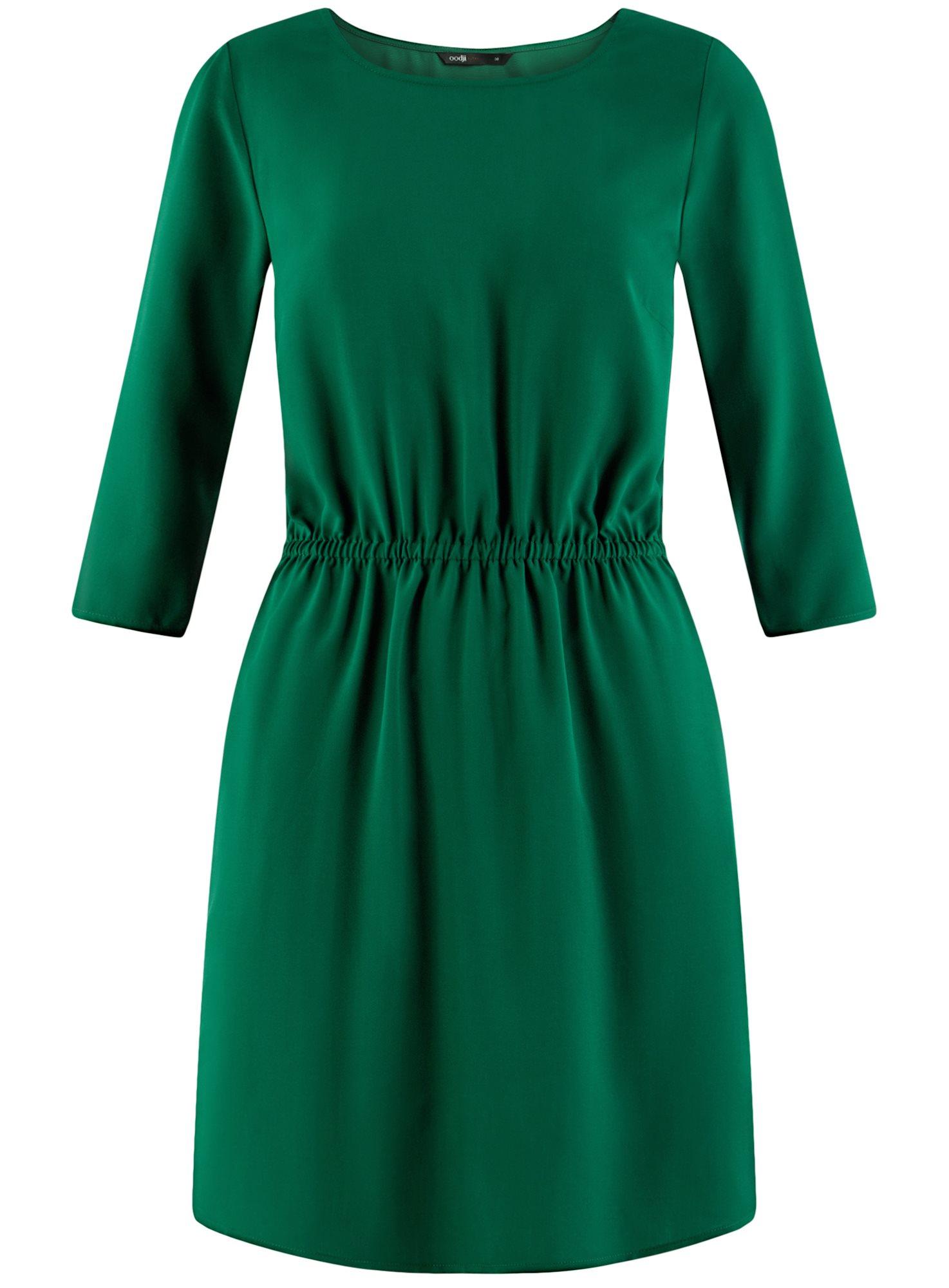 Платье вискозное с рукавом 3/4 oodji для женщины (зеленый), 11901153-1B/42540/6E00N